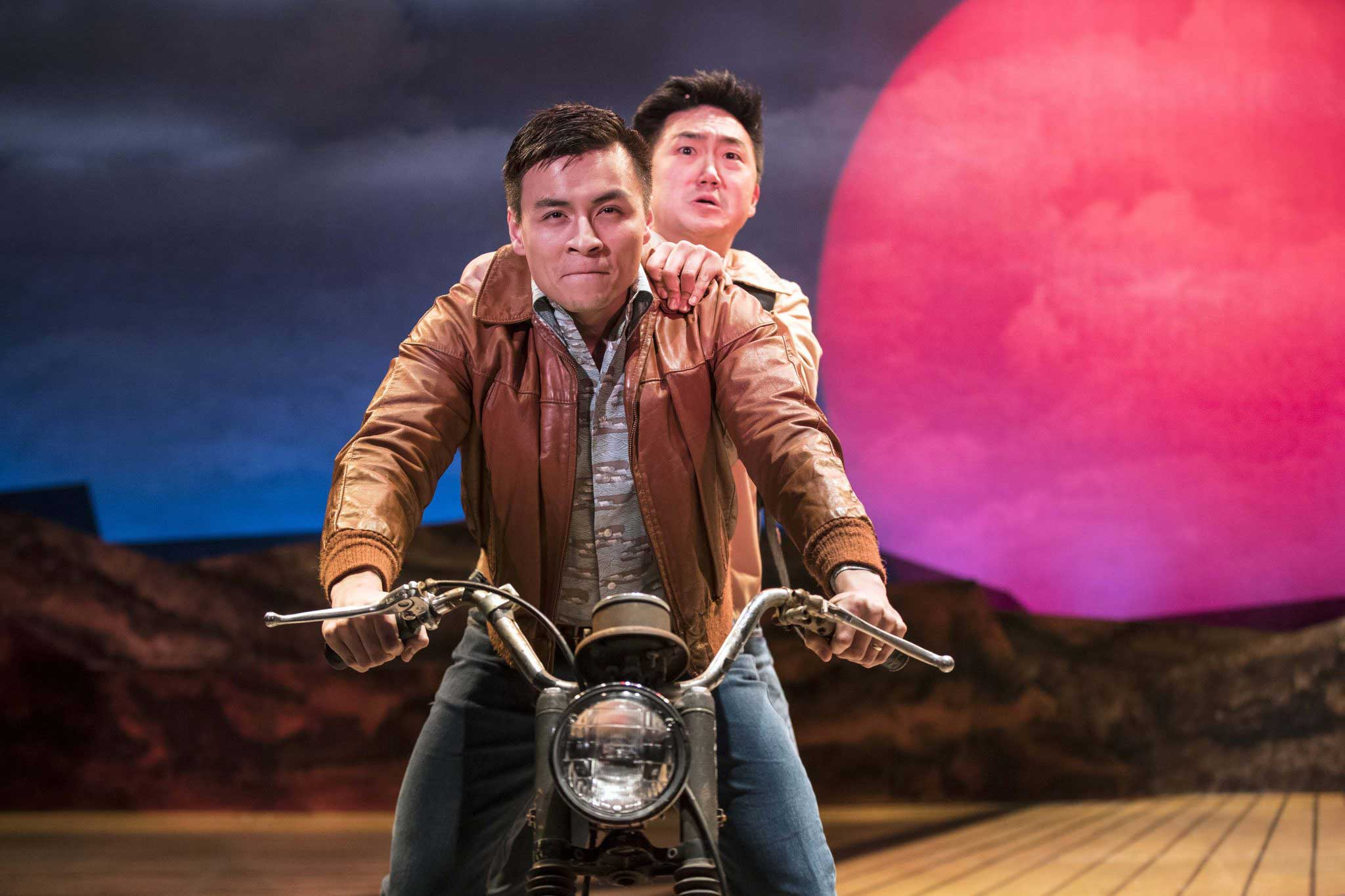 Alley Theatre_Vietgone_Actors David Huynh and Edward Hong in TheatreSquared's production of Vietgone, directed by Kholoud Sawaf_Photo by Wesley Hitt